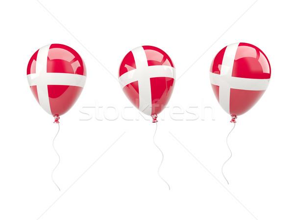 воздуха шаров флаг Дания изолированный белый Сток-фото © MikhailMishchenko