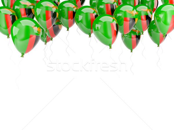 Balon çerçeve bayrak Zambiya yalıtılmış beyaz Stok fotoğraf © MikhailMishchenko