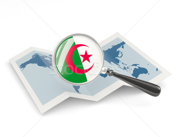 Magnified flag of algeria with map Stock photo © MikhailMishchenko