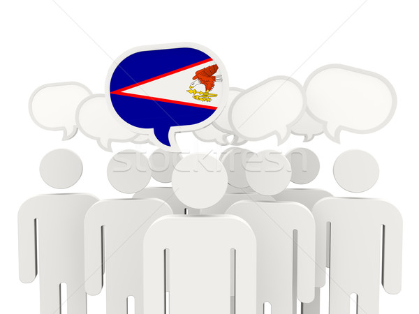 Pessoas bandeira Samoa Americana isolado branco reunião Foto stock © MikhailMishchenko