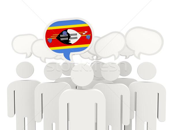 Personnes pavillon Swaziland isolé blanche réunion Photo stock © MikhailMishchenko