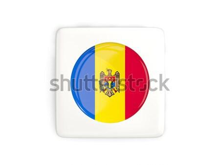 Gomb zászló Moldova fém keret utazás Stock fotó © MikhailMishchenko