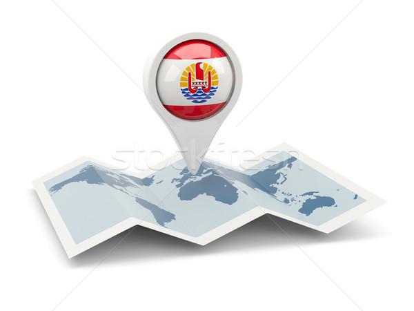 Pin bandiera francese polinesia mappa viaggio Foto d'archivio © MikhailMishchenko