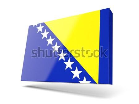 Foto stock: Cuadrados · metal · botón · bandera · Bosnia · Herzegovina · aislado