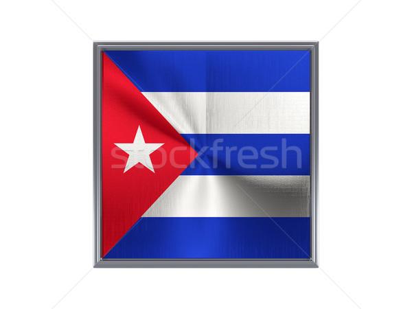 Placu metal przycisk banderą Kuba odizolowany Zdjęcia stock © MikhailMishchenko