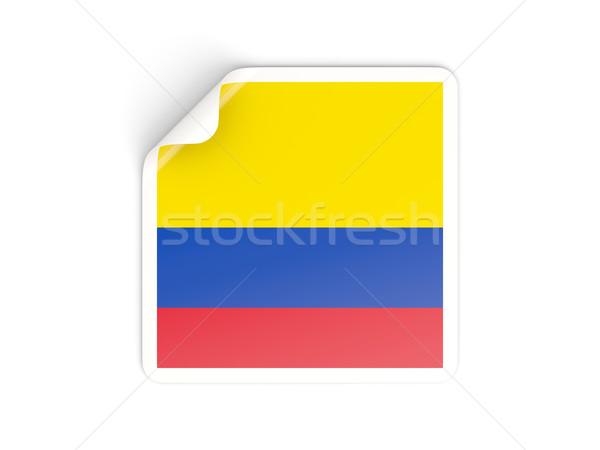 Tér matrica zászló Colombia izolált fehér Stock fotó © MikhailMishchenko