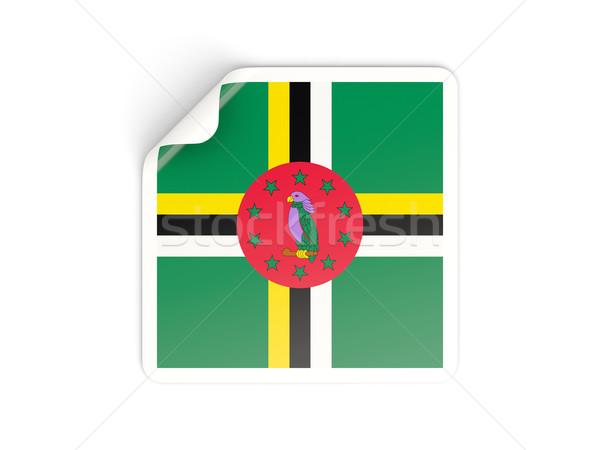 квадратный наклейку флаг Доминика изолированный белый Сток-фото © MikhailMishchenko