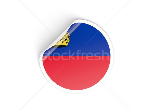 Adesivo bandiera Liechtenstein isolato bianco viaggio Foto d'archivio © MikhailMishchenko