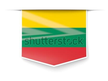 Vierkante label vlag Litouwen geïsoleerd witte Stockfoto © MikhailMishchenko
