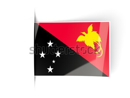Square label with flag of papua new guinea Stock photo © MikhailMishchenko