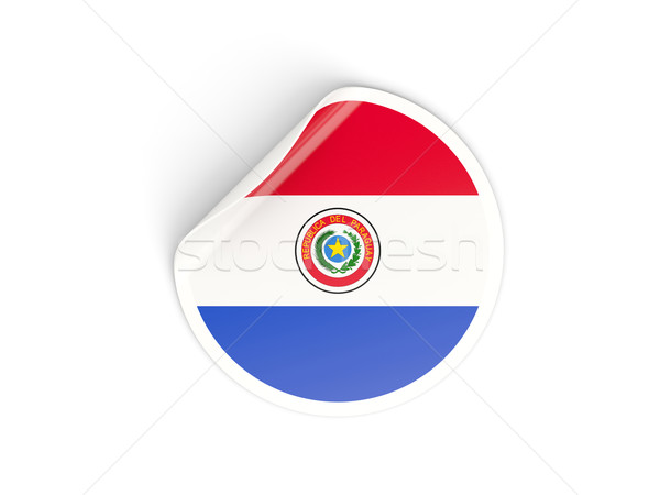 Round sticker with flag of paraguay Stock photo © MikhailMishchenko