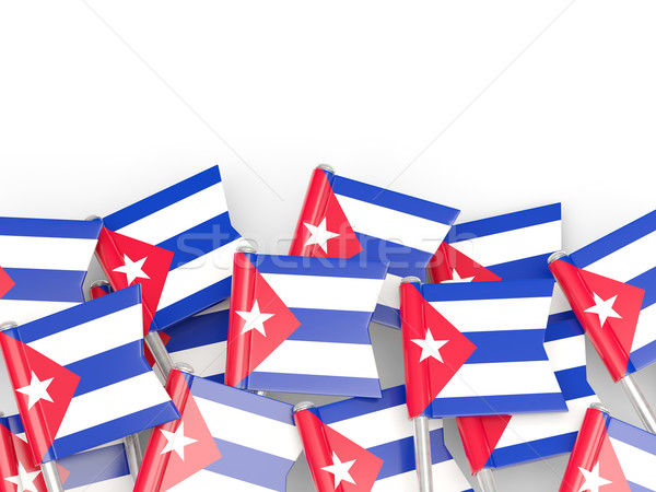 Bandeira pin Cuba isolado branco mundo Foto stock © MikhailMishchenko