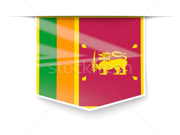Tér címke zászló Sri Lanka izolált fehér Stock fotó © MikhailMishchenko