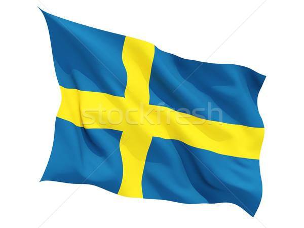 Vlag Zweden geïsoleerd witte Stockfoto © MikhailMishchenko