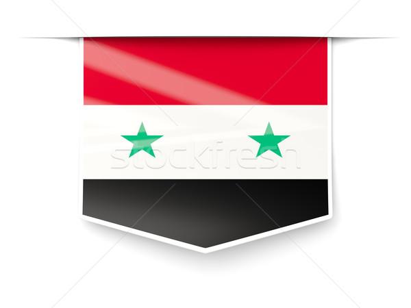 Vierkante label vlag Syrië geïsoleerd witte Stockfoto © MikhailMishchenko