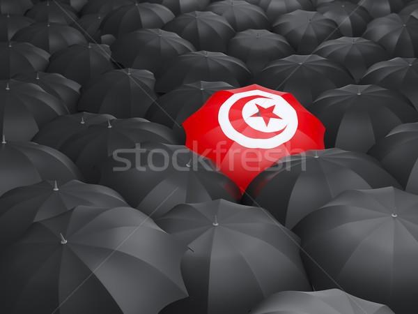 зонтик флаг Тунис черный дождь Сток-фото © MikhailMishchenko