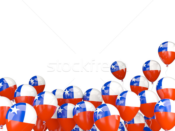 Repülés léggömbök zászló Chile izolált fehér Stock fotó © MikhailMishchenko