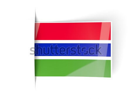 Square label with flag of gambia Stock photo © MikhailMishchenko
