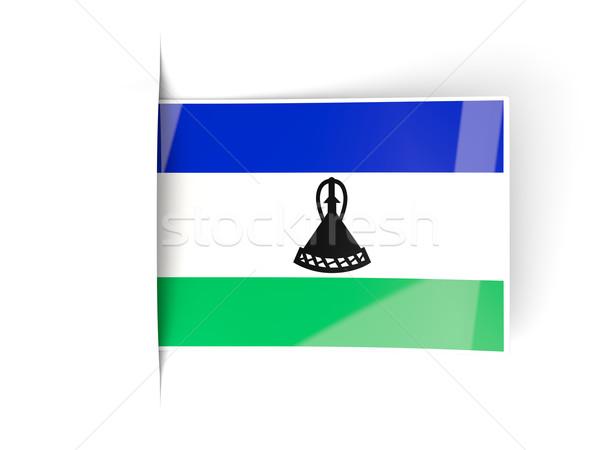 Carré étiquette pavillon Lesotho isolé blanche Photo stock © MikhailMishchenko