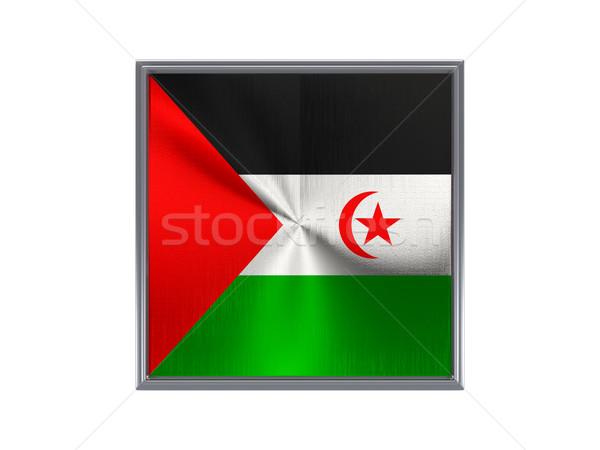 Vierkante metaal knop vlag westerse sahara Stockfoto © MikhailMishchenko