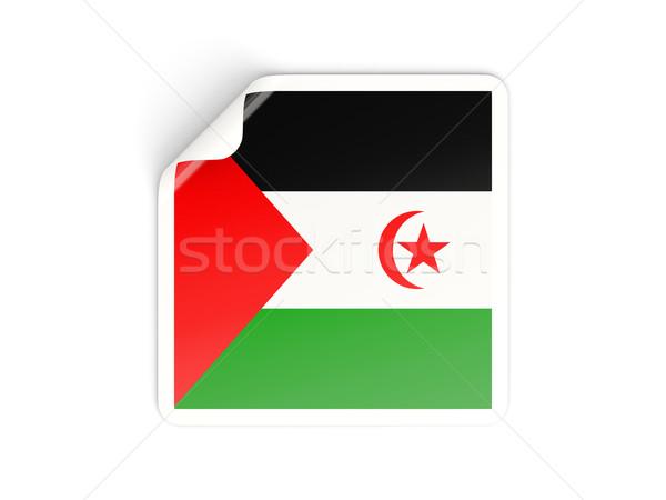 Square sticker with flag of western sahara Stock photo © MikhailMishchenko