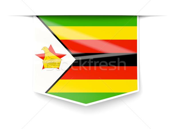 広場 ラベル フラグ ジンバブエ 孤立した 白 ストックフォト © MikhailMishchenko