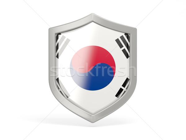 Stock photo: Shield icon with flag of korea south