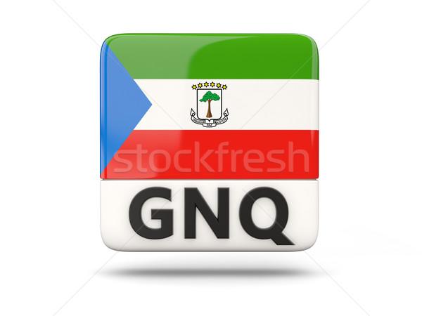Praça ícone bandeira Guiné Equatorial iso código Foto stock © MikhailMishchenko