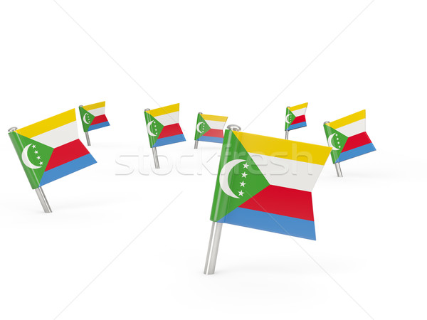 Square pins with flag of comoros Stock photo © MikhailMishchenko