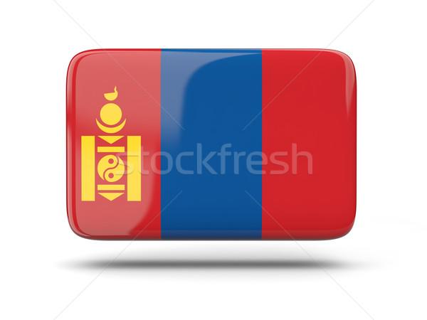 Tér ikon zászló Mongólia árnyék felirat Stock fotó © MikhailMishchenko