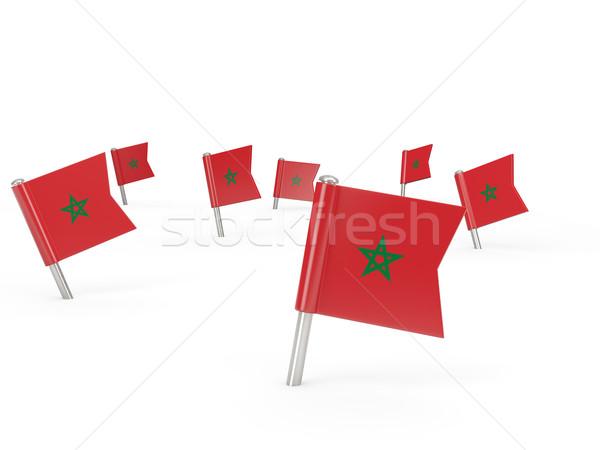 квадратный флаг Марокко изолированный белый стране Сток-фото © MikhailMishchenko