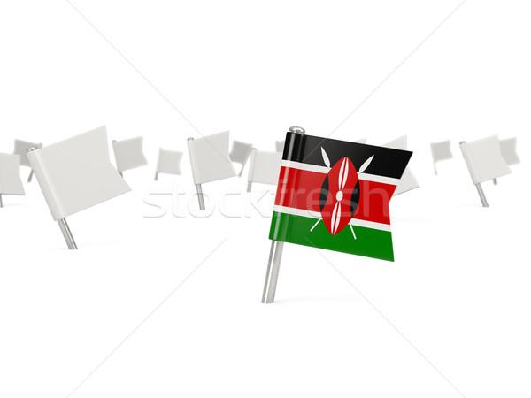 Square pin with flag of kenya Stock photo © MikhailMishchenko
