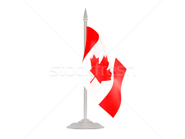 Banderą Kanada maszt 3d odizolowany biały Zdjęcia stock © MikhailMishchenko
