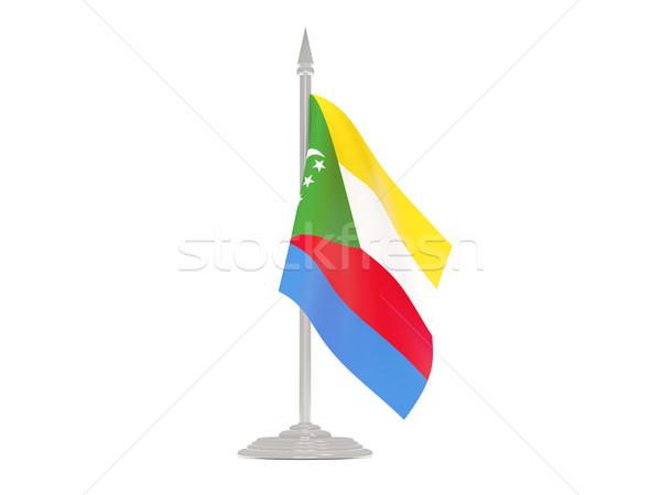 флаг Коморские острова флагшток 3d визуализации изолированный белый Сток-фото © MikhailMishchenko
