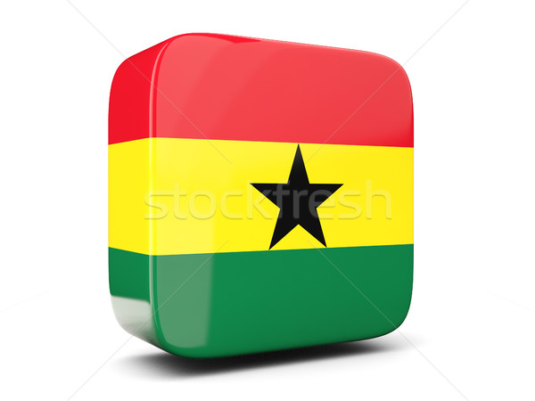 Square icon with flag of ghana square. 3D illustration Stock photo © MikhailMishchenko