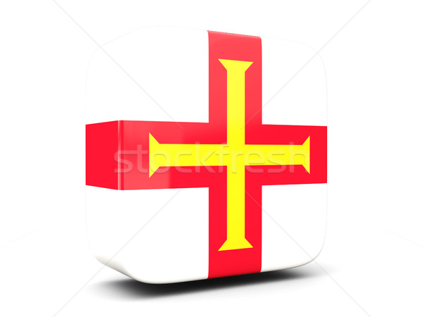 Square icon with flag of guernsey square. 3D illustration Stock photo © MikhailMishchenko