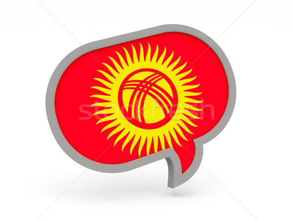 Chat icon vlag Kirgizië geïsoleerd witte Stockfoto © MikhailMishchenko