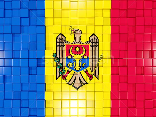 Tér alkatrészek zászló Moldova 3d illusztráció mozaik Stock fotó © MikhailMishchenko