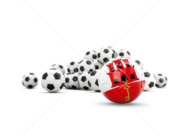 Piłka nożna banderą gibraltar odizolowany biały 3d ilustracji Zdjęcia stock © MikhailMishchenko