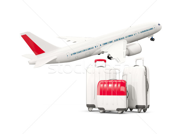 Luggage with flag of indonesia. Three bags with airplane Stock photo © MikhailMishchenko