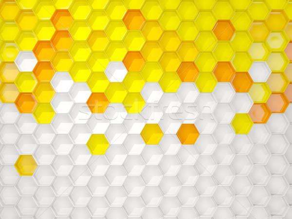 Fehér citromsárga hatszög minta 3d illusztráció háttér Stock fotó © MikhailMishchenko