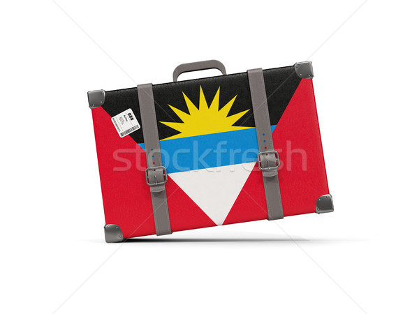 Luggage with flag of antigua and barbuda. Suitcase isolated on w Stock photo © MikhailMishchenko