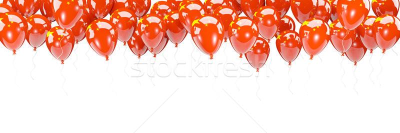 Ballonnen frame vlag China geïsoleerd witte Stockfoto © MikhailMishchenko