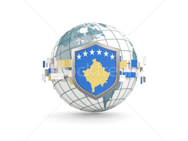 Globo escudo bandeira Kosovo isolado branco Foto stock © MikhailMishchenko