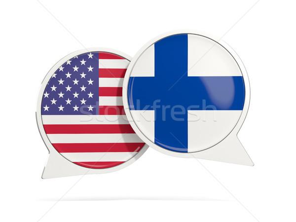 Conversar bubbles EUA Finlândia isolado branco Foto stock © MikhailMishchenko
