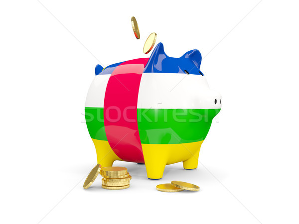 Fat piggy bank with fag of central african republic Stock photo © MikhailMishchenko