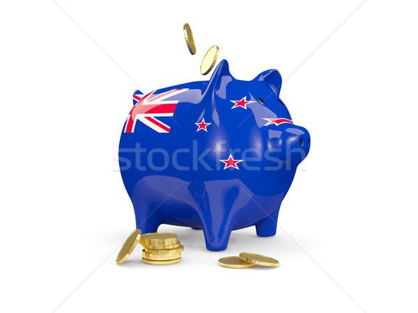 Kövér persely Új-Zéland pénz izolált fehér Stock fotó © MikhailMishchenko