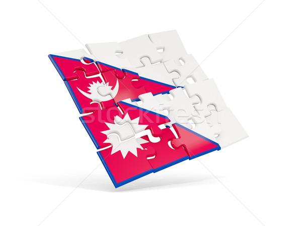 Stok fotoğraf: Bilmece · bayrak · Nepal · yalıtılmış · beyaz · 3d · illustration