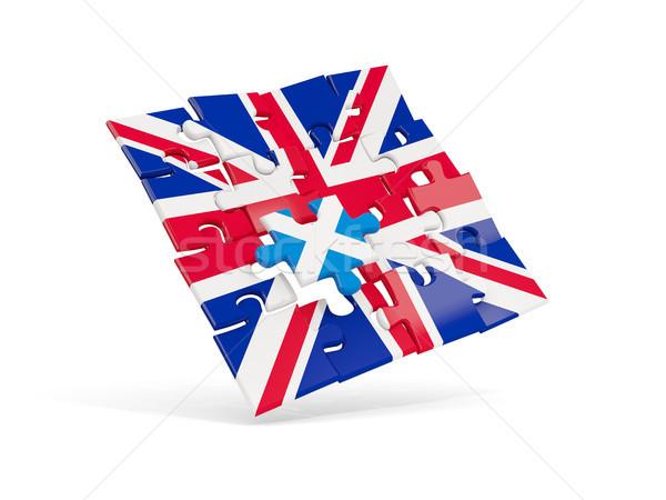 Puzzle flag of United Kingdom and flag of Scotland Stock photo © MikhailMishchenko