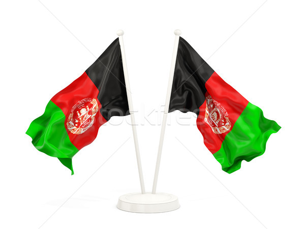 Two waving flags of afghanistan Stock photo © MikhailMishchenko